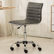 Varick Gallery Shrum Chrome Adjustable Air Lift Office Mid-Back Desk Chair; Gray