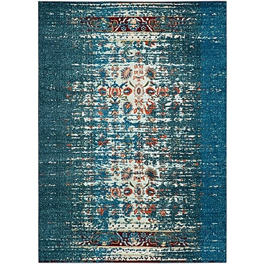 Varick Gallery Vanarsdale Blue & Ivory Area Rug; Square 6'7'' x 6'7''
