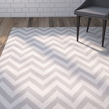 Varick Gallery Vanderhoof Handmade Grey / Ivory Area Rug; Square 8'