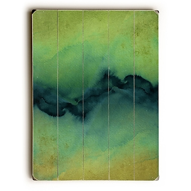 Varick Gallery 'The Vibe' Graphic Art Print on Rectangle Wood in Yellow/Teal/Green; 34'' H x 25'' W