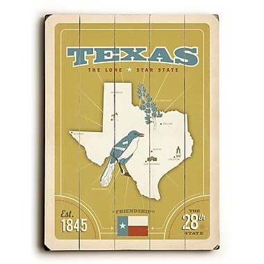 Varick Gallery 'Texas' Poster on Wood; 34'' H x 25'' W x 0.75'' D