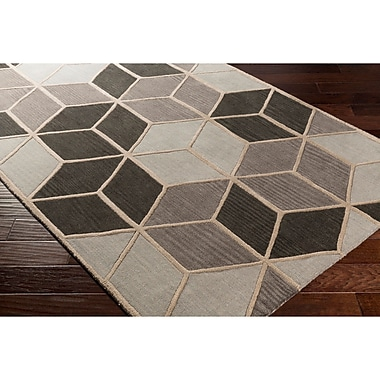 Varick Gallery Vaughan Hand-Tufted Geometric Gray Area Rug; Runner 2'6'' x 8'