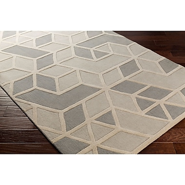 Varick Gallery Vaughan Hand-Tufted Rectangle Gray Wool Area Rug; 5' x 8'