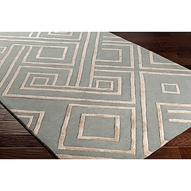 Varick Gallery Vazquez Hand-Tufted Rectangle Green/Neutral Area Rug; 8' x 10'