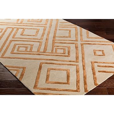 Varick Gallery Vazquez Hand-Tufted Neutral/Orange Area Rug; 5' x 7'6''