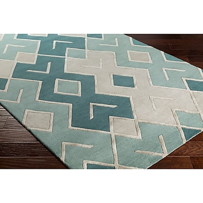 Varick Gallery Vazquez Hand-Tufted Gray/Green Area Rug; 2' x 3'