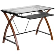 Varick Gallery Wagstaff Glass Computer Desk w/ Pull-out Keyboard