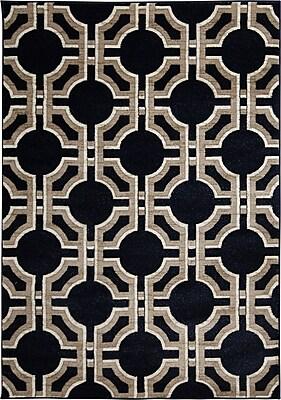 Varick Gallery Wahl Hand Carved Black Area Rug; 5' x 7'3''