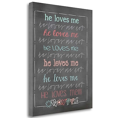 Tangletown Fine Art 'He Love Me!!!' Textual Art on Canvas; 24'' H x 20'' W