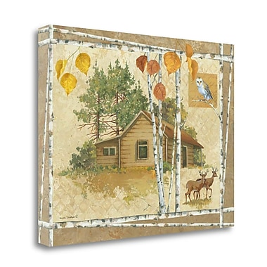 Tangletown Fine Art 'Deer Cabin' Graphic Art Print on Wrapped Canvas; 16'' H x 21'' W