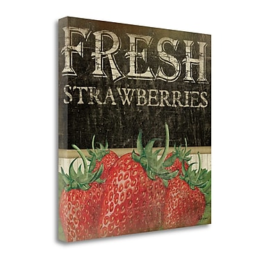 Tangletown Fine Art 'Fresh Strawberries' Textual Art on Canvas; 24'' H x 24'' W