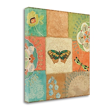 Tangletown Fine Art 'Folk Floral IV Center Butterfly' Graphic Art Print on Canvas; 24'' H x 24'' W