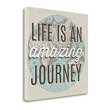 Tangletown Fine Art 'French World Map Inspiration Amazing Journey' Textual Art on Canvas