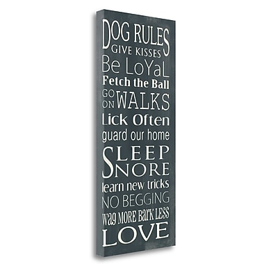 Tangletown Fine Art 'Dog Rules' Textual Art on Wrapped Canvas; 29'' H x 13'' W