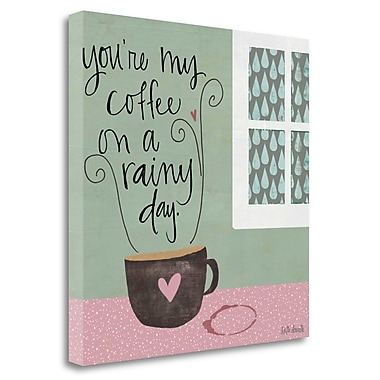 Tangletown Fine Art 'Rainy Day Coffee' Textual Art on Canvas; 18'' H x 18'' W