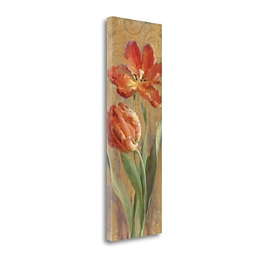 Tangletown Fine Art 'Parrot Tulips on Gold II' Print on Wrapped Canvas; 39'' H x 13'' W