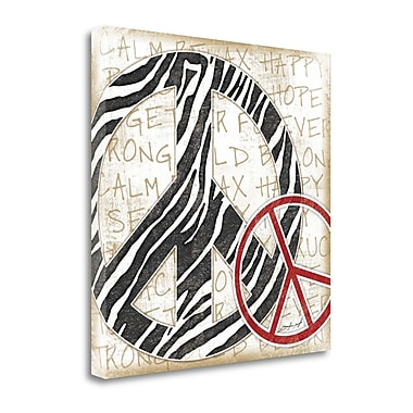 Tangletown Fine Art 'Peace Zebra' Graphic Art Print on Wrapped Canvas; 24'' H x 24'' W