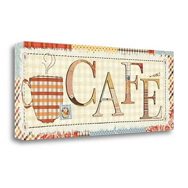 Tangletown Fine Art 'Patchwork Cafe I' Textual Art on Wrapped Canvas; 16'' H x 40'' W