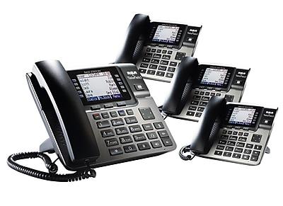 Unison STP-RCAU1B3DOHS 4 Desk Phone Small Office Bundle, Black