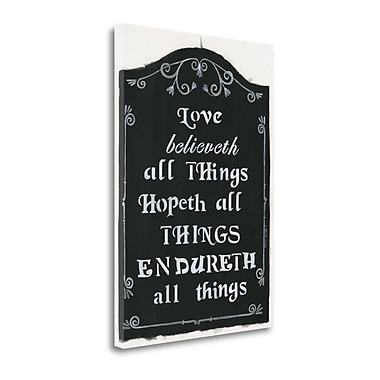 Tangletown Fine Art 'Love Believeth' Textual Art on Canvas; 34'' H x 24'' W