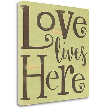 Tangletown Fine Art 'Love Lives Here - Green' Textual Art on Canvas; 30'' H x 30'' W