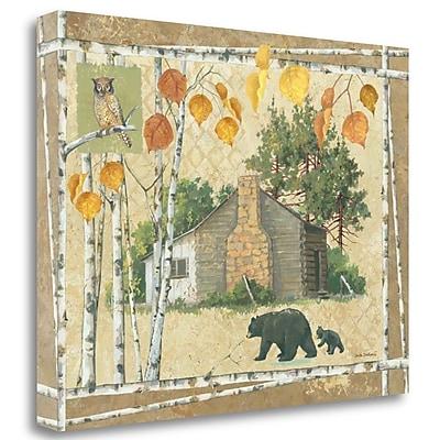 Tangletown Fine Art 'Bear Cabin' Print on Wrapped Canvas; 26'' H x 34'' W