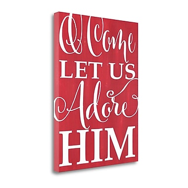 Tangletown Fine Art 'Adore Him - Red' Textual Art on Canvas; 47'' H x 35'' W