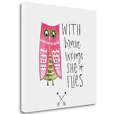 Tangletown Fine Art 'Brave Wings' Textual Art on Canvas; 23'' H x 23'' W