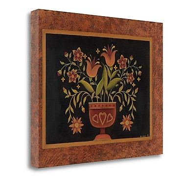 Tangletown Fine Art 'Floral w/ Hearts' Graphic Art Print on Canvas; 32'' H x 40'' W