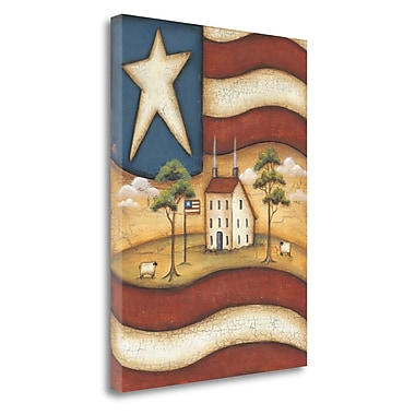 Tangletown Fine Art 'Folk Flag' Print on Canvas; 30'' H x 23'' W