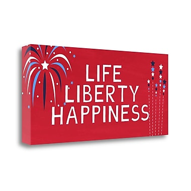Tangletown Fine Art 'Life Liberty Happiness' Textual Art on Canvas; 16'' H x 36'' W