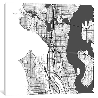 East Urban Home 'Seattle Roadway' Graphic Art on Wrapped Canvas in Gray; 18'' H x 18'' W x 1.5'' D