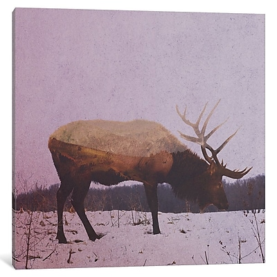 East Urban Home 'Elk II' Painting Print on Wrapped Canvas; 12'' H x 12'' W x 1.5'' D