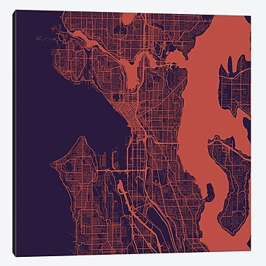 East Urban Home 'Seattle Roadway' Square Graphic Art on Wrapped Canvas in Orange
