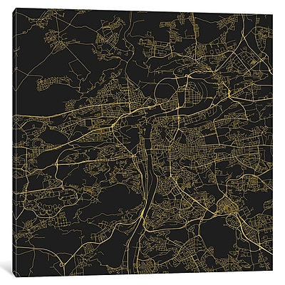 East Urban Home 'Prague Roadway' Graphic Art on Wrapped Canvas in Yellow; 12'' H x 12'' W x 0.75'' D