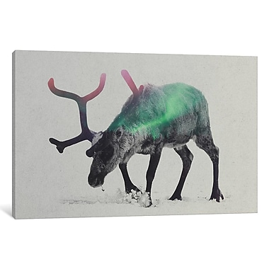 East Urban Home 'Aurora Borealis Series: Reindeer' Horizontal Graphic Art on Wrapped Canvas