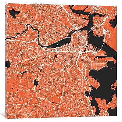 East Urban Home 'Boston Urban Roadway Map Graphic A' Square Graphic Art on Wrapped Canvas