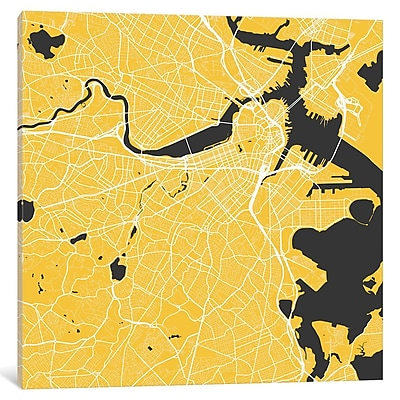 East Urban Home 'Boston Urban Roadway Map' Graphic Art on Wrapped Canvas in Yellow