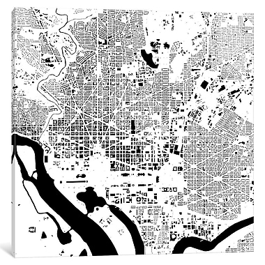 East Urban Home 'Washington D.C.' Graphic Art on Wrapped Canvas in Gray; 37'' H x 37'' W x 1.5'' D