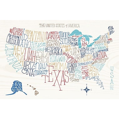 East Urban Home 'Hand Lettered US Map' Textual Art on Wrapped Canvas; 12'' H x 18'' W x 1.5'' D