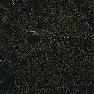 East Urban Home 'London Urban Roadway Map' Graphic Art on Wrapped Canvas; 12'' H x 12'' W x 0.75'' D