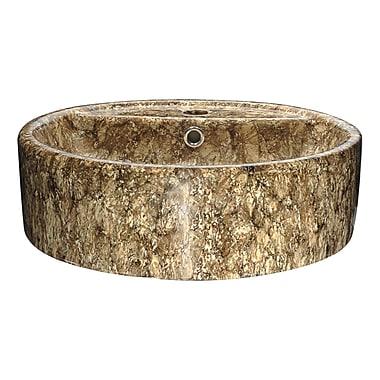 ANZZI Rhapsody Series Ceramic Circular Vessel Bathroom Sink; Brown