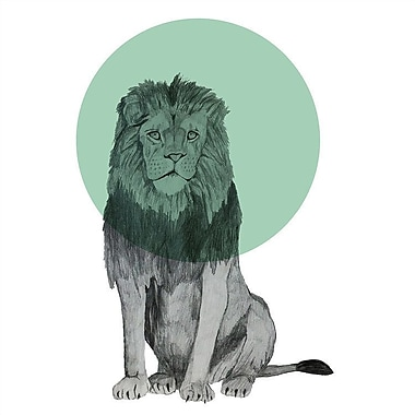 East Urban Home 'Sitting Lion' Graphic Art on Wrapped Canvas; 12'' H x 12'' W x 0.75'' D