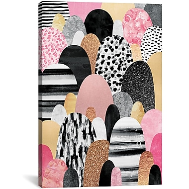 East Urban Home 'Pink Pebbles' Graphic Art on Wrapped Canvas; 60'' H x 40'' W x 1.5'' D