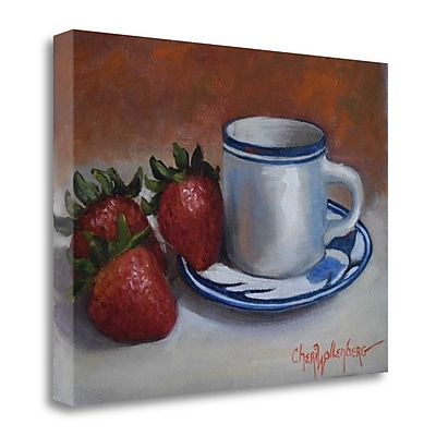 Tangletown Fine Art 'Strawberries and Cup and Saucer' Print on Canvas; 22'' H x 29'' W
