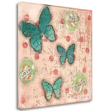 Tangletown Fine Art 'Joy Peace Butterflies' Print on Canvas; 23'' H x 23'' W