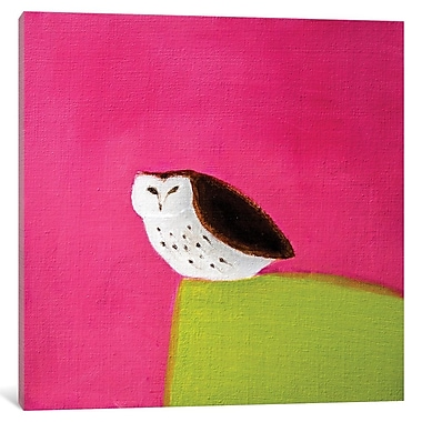 East Urban Home 'Owl on Pink and Green' Painting Print on Wrapped Canvas; 12'' H x 12'' W x 1.5'' D