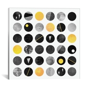 East Urban Home 'Black and Yellow Dots' Graphic Art on Wrapped Canvas; 26'' H x 26'' W x 0.75'' D