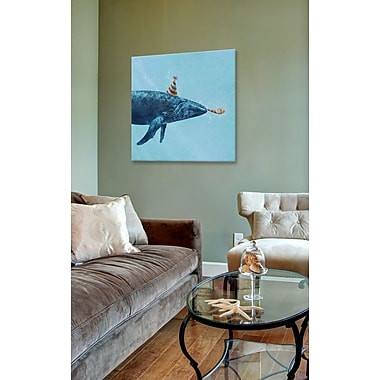 East Urban Home 'Party Whale' Graphic Art on Wrapped Canvas; 37'' H x 37'' W x 0.75'' D