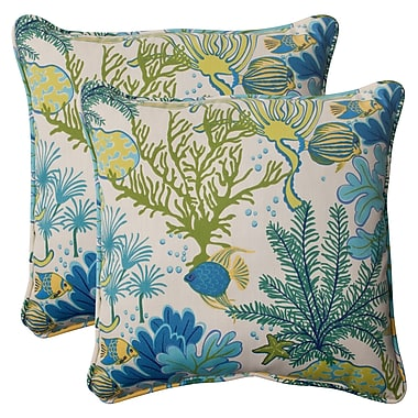 Bayou Breeze Evadne Corded Outdoor Throw Pillow (Set of 2); Cream / Green / Blue / Turquoise